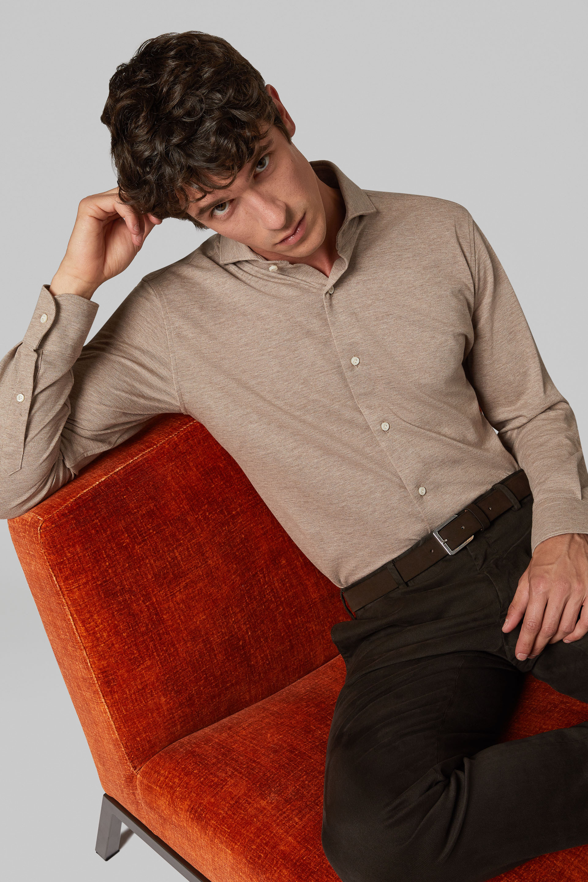 Camisa Polo Boggi  Regular Fit Beige Con Cuello Abierto