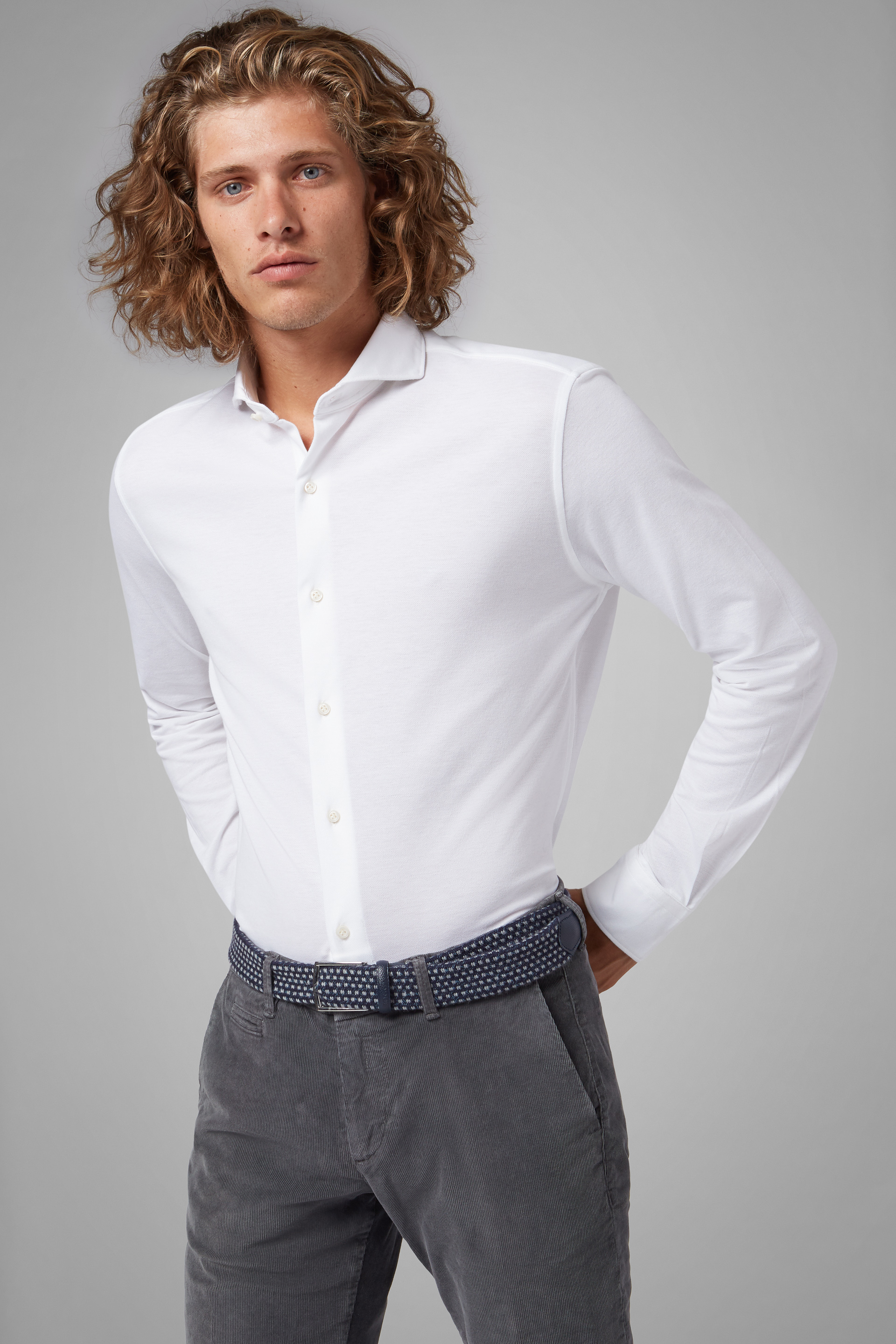 Camisa Polo Boggi Regular Fit Blanca Con Cuello Abierto