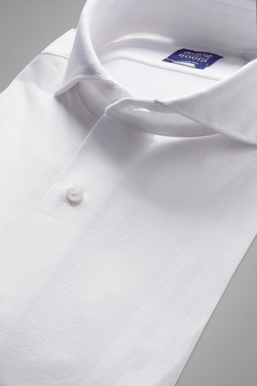 Camisa Polo Boggi Regular Fit Blanca Con Cuello Abierto