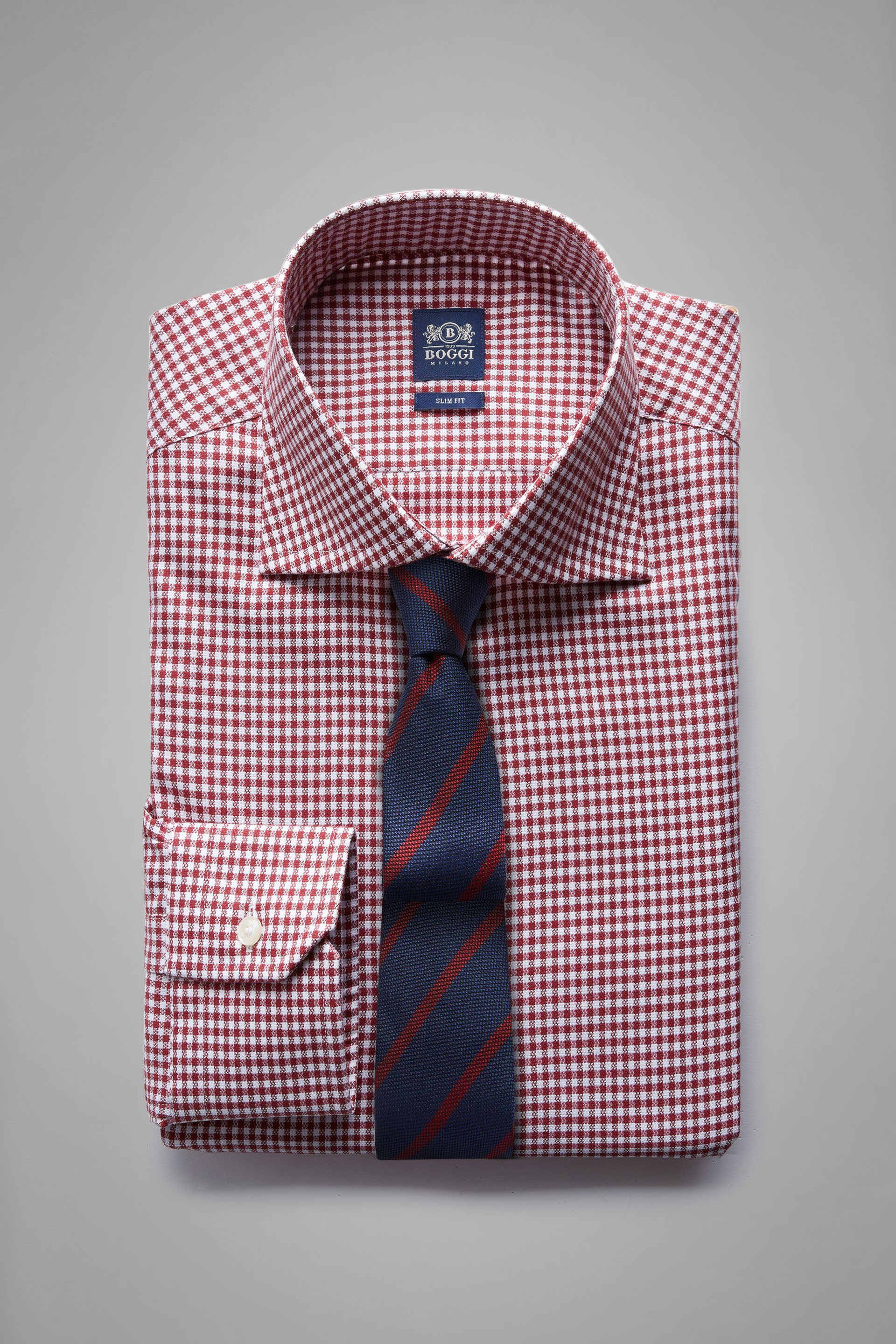 Camisa Boggi Slim Fit A Cuadros Burdeos Con Cuello Windsor