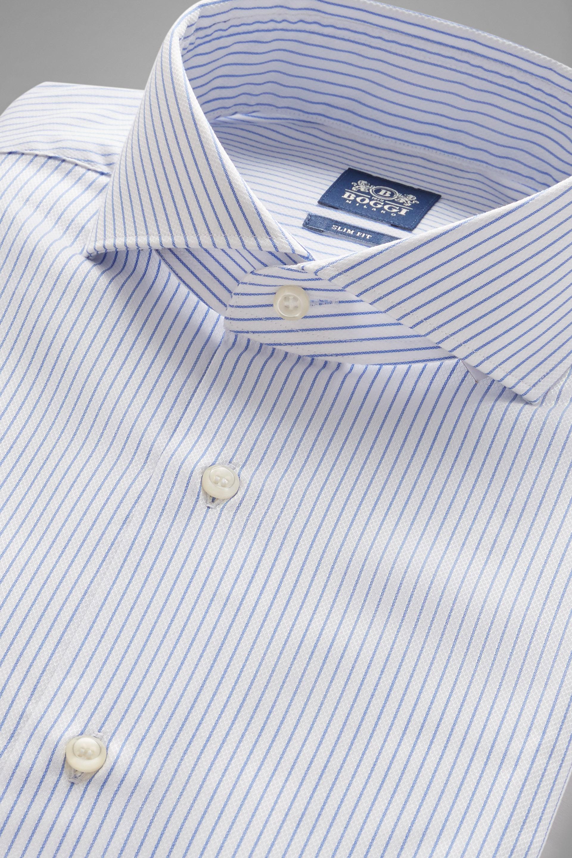 Camisa Boggi Slim Fit A Rayas Celestes Con Cuello Nápoles