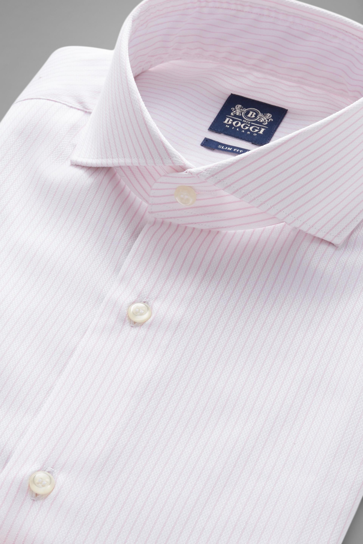 Camisa Boggi Slim Fit A Rayas Rosas Con Cuello Nápoles
