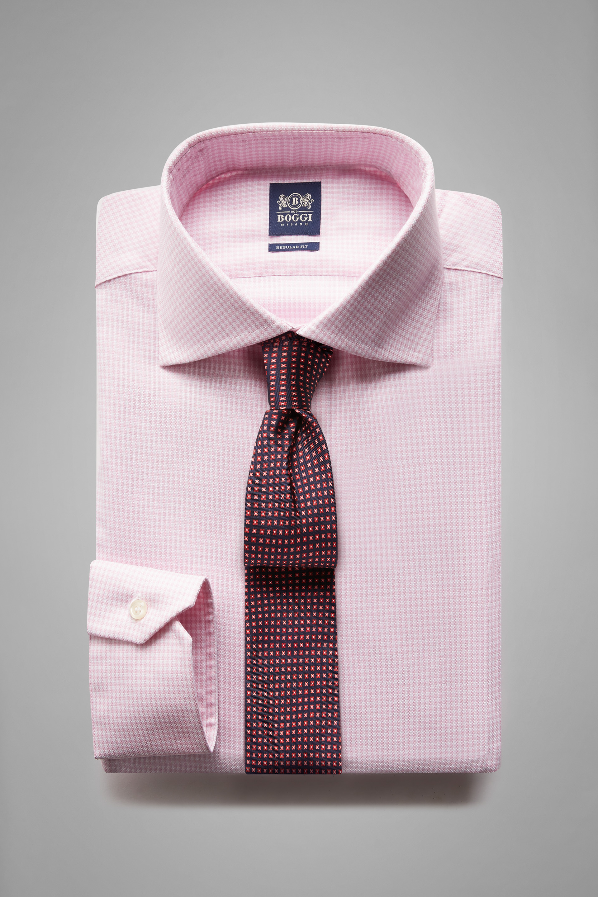 Camisa Boggi Regular Fit Rosa Con Cuello Windsor