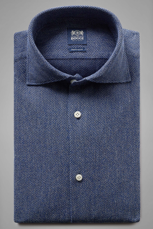 Camisa Boggi Regular Fit De Gasa Inglesa Azul Con Cuello Cerrado