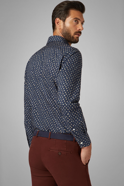 Camisa Boggi Slim Fit Azul Estampada Con Cuello Florencia