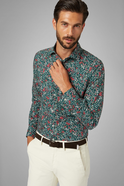 Camisa Boggi Slim Fit Verde Con Estampado De Flores Y Cuello Florencia