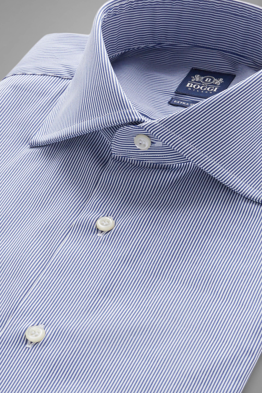 Camisa Boggi Extraslim Fit A Rayas Azules Con Cuello Windsor