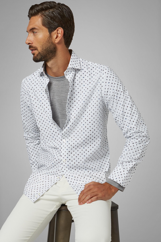 Camisa Boggi Slim Fit Blanca Y Rosa Con Cuello Florencia