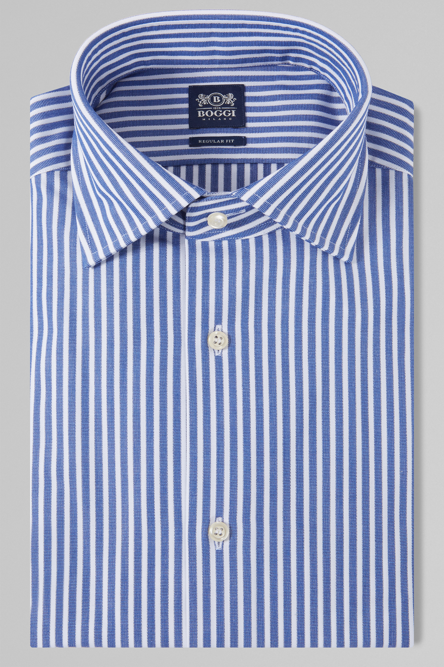 Camisa Regular Fit A Rayas Azul Aciano Con Cuello London