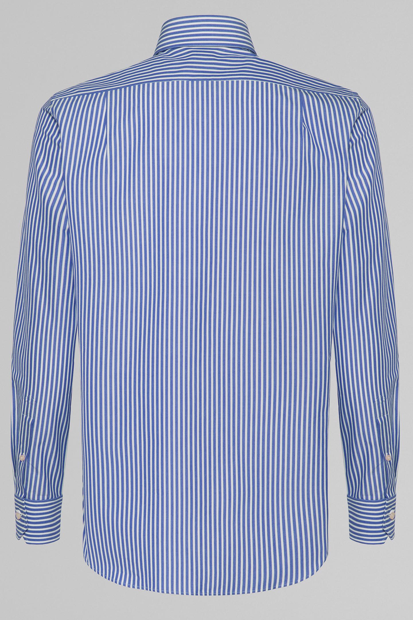 Camisa Regular Fit A Rayas Azul Aciano Con Cuello London