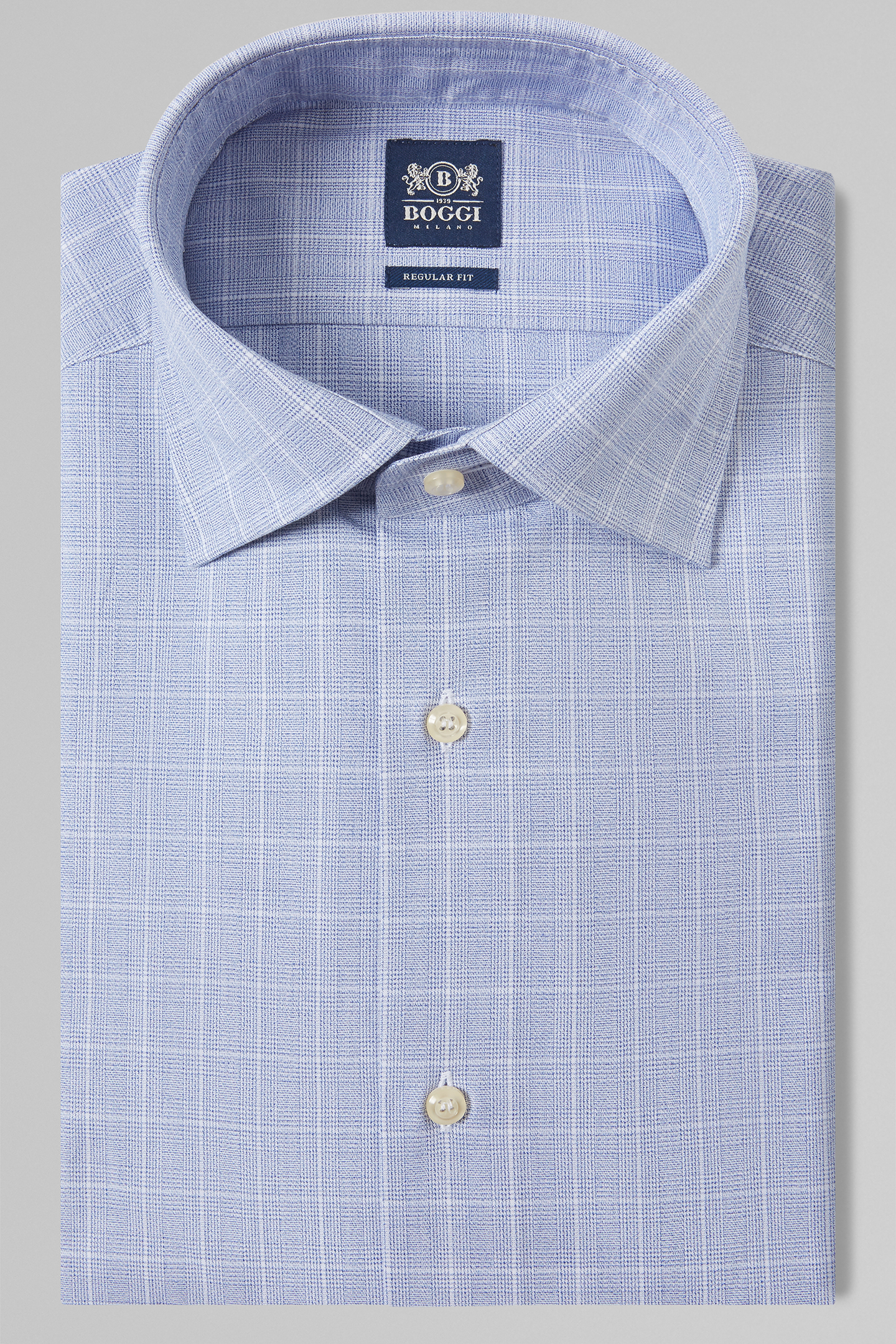 Camisa Regular Fit Azul Con Cuello London