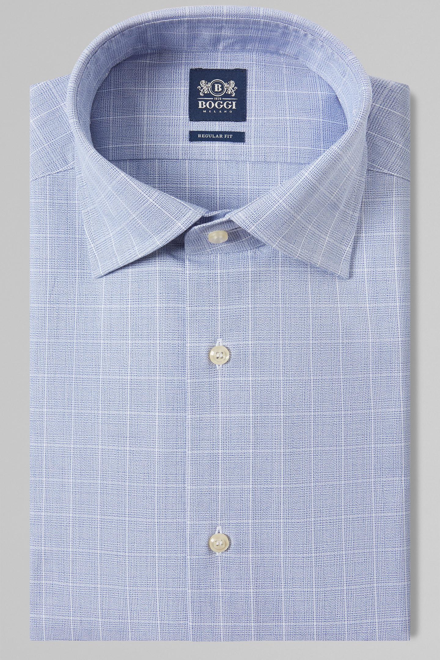 Camisa Regular Fit Azul Con Cuello London