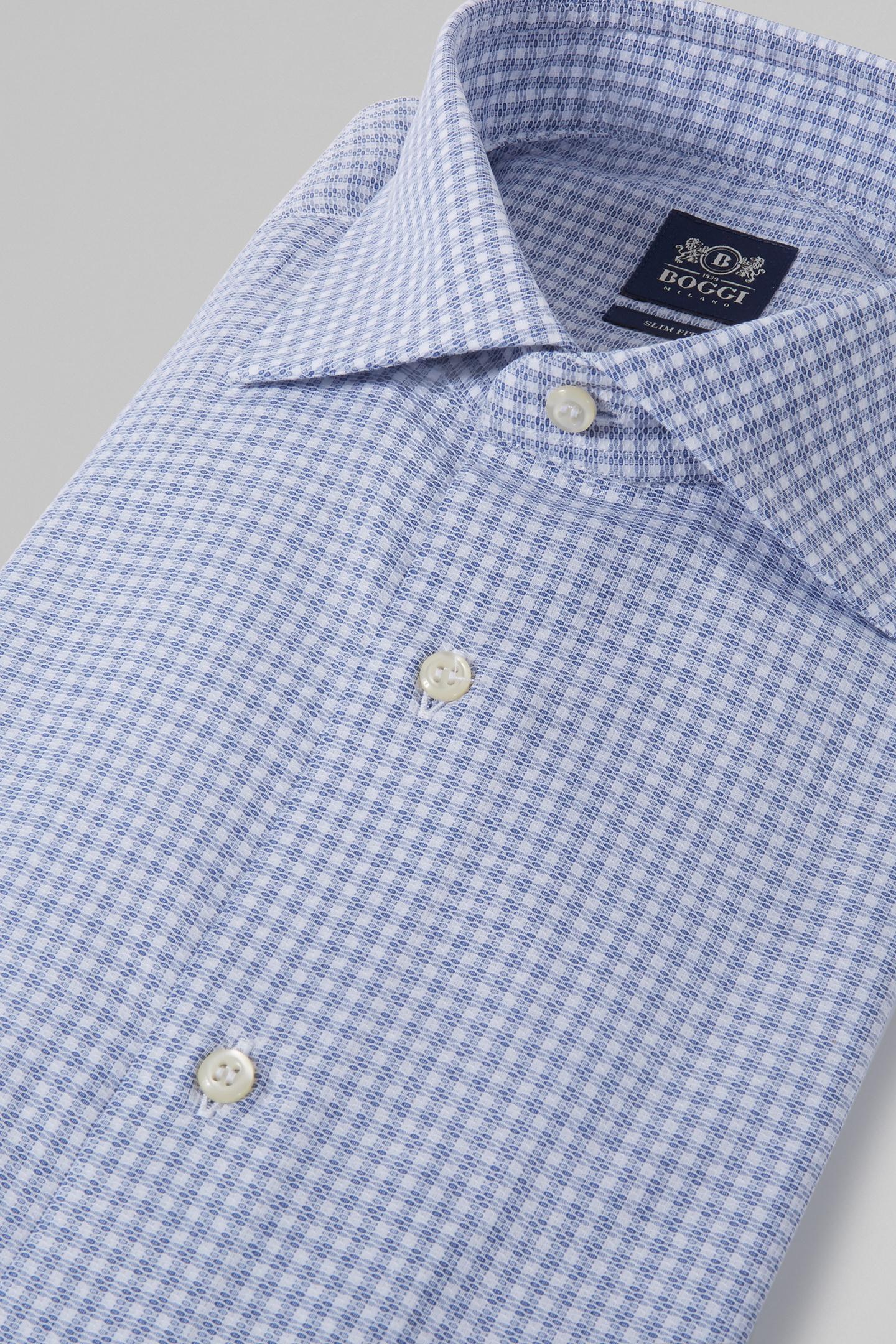 Camisa Slim Fit A Cuadros En Azul Con Cuello Windsor