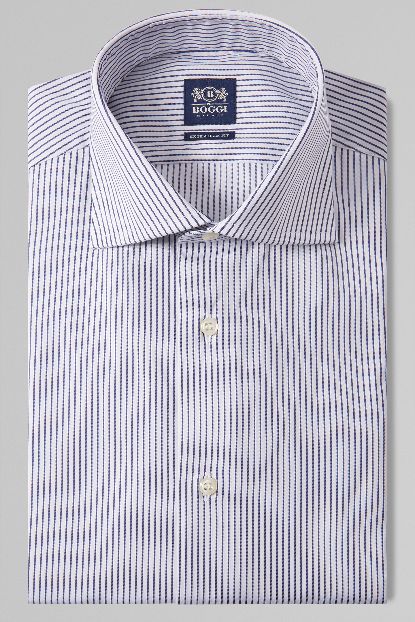 Camisa Extraslim Fit A Rayas Azules Con Cuello Windsor