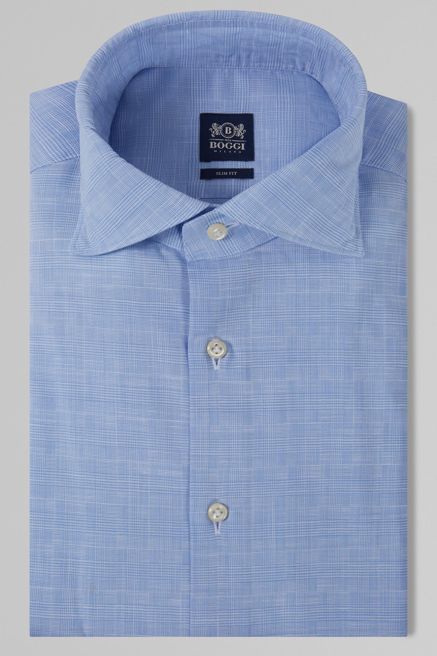 Camisa Slim Fit Celeste Con Cuello Florencia