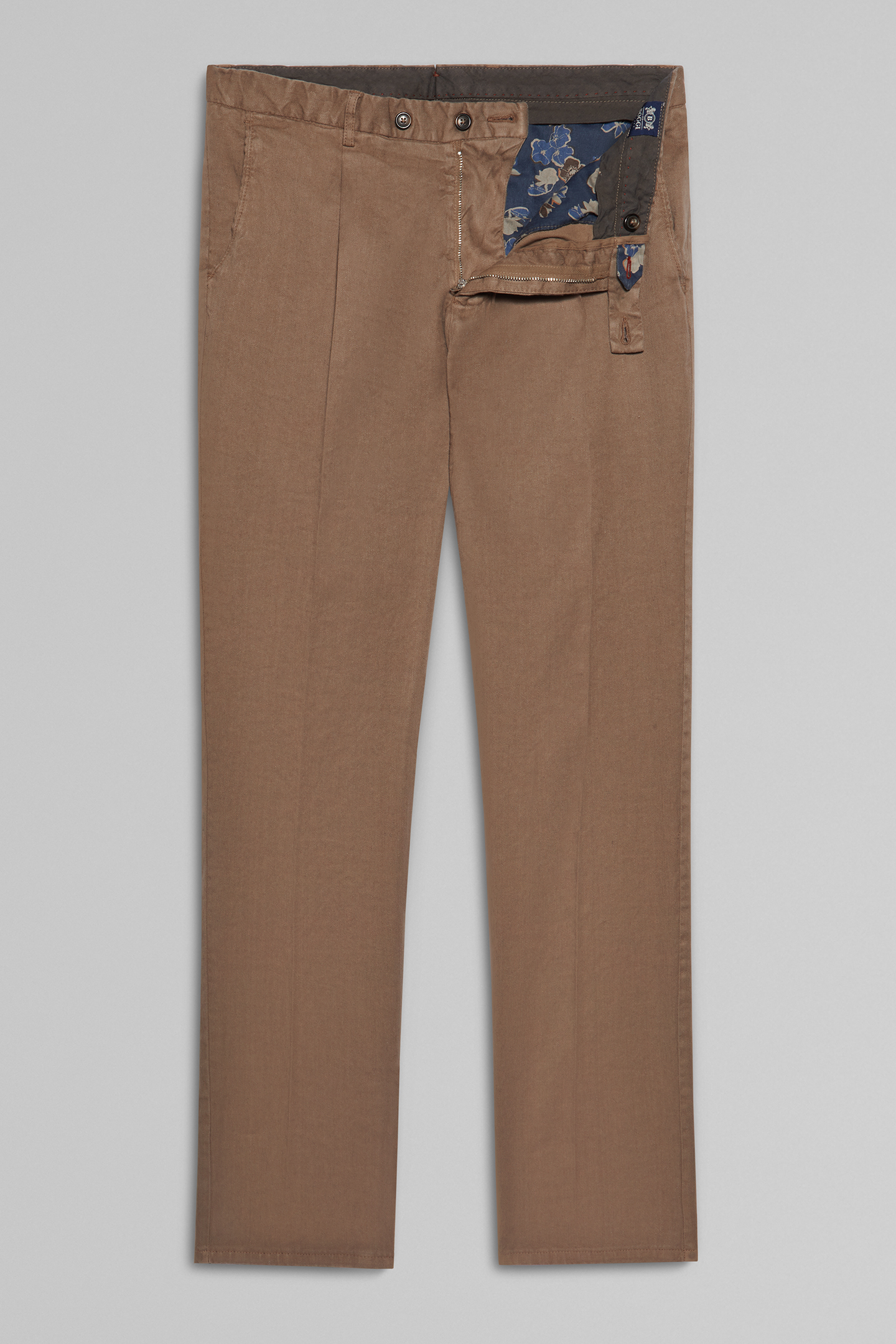 Pantalón Slim Fit Elástico De Algodón Y Lino