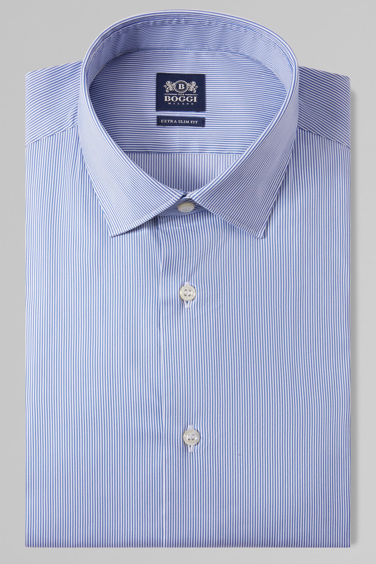 Camisa Boggi Extraslim Fit A Rayas Azul Aciano Con Cuello Tokio