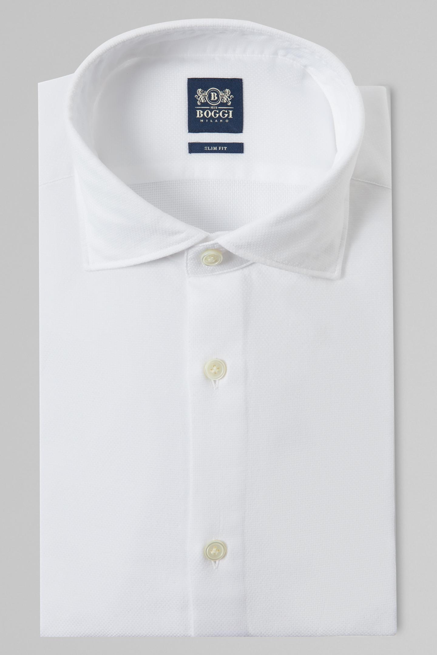 Camisa Boggi Slim Fit Blanca Con Cuello Florencia