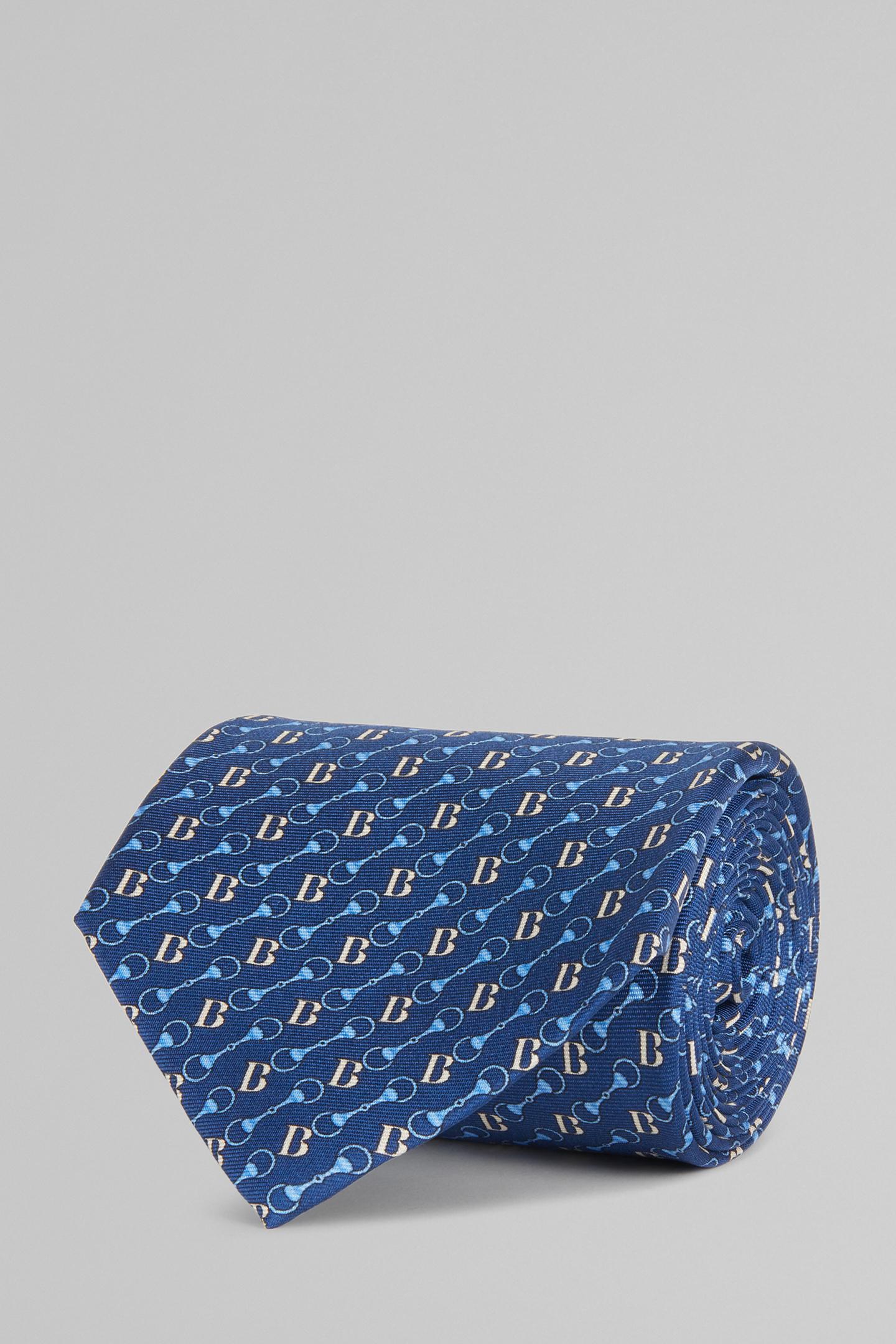 Corbata De Seda Con Estampado De Logo Y Estribos