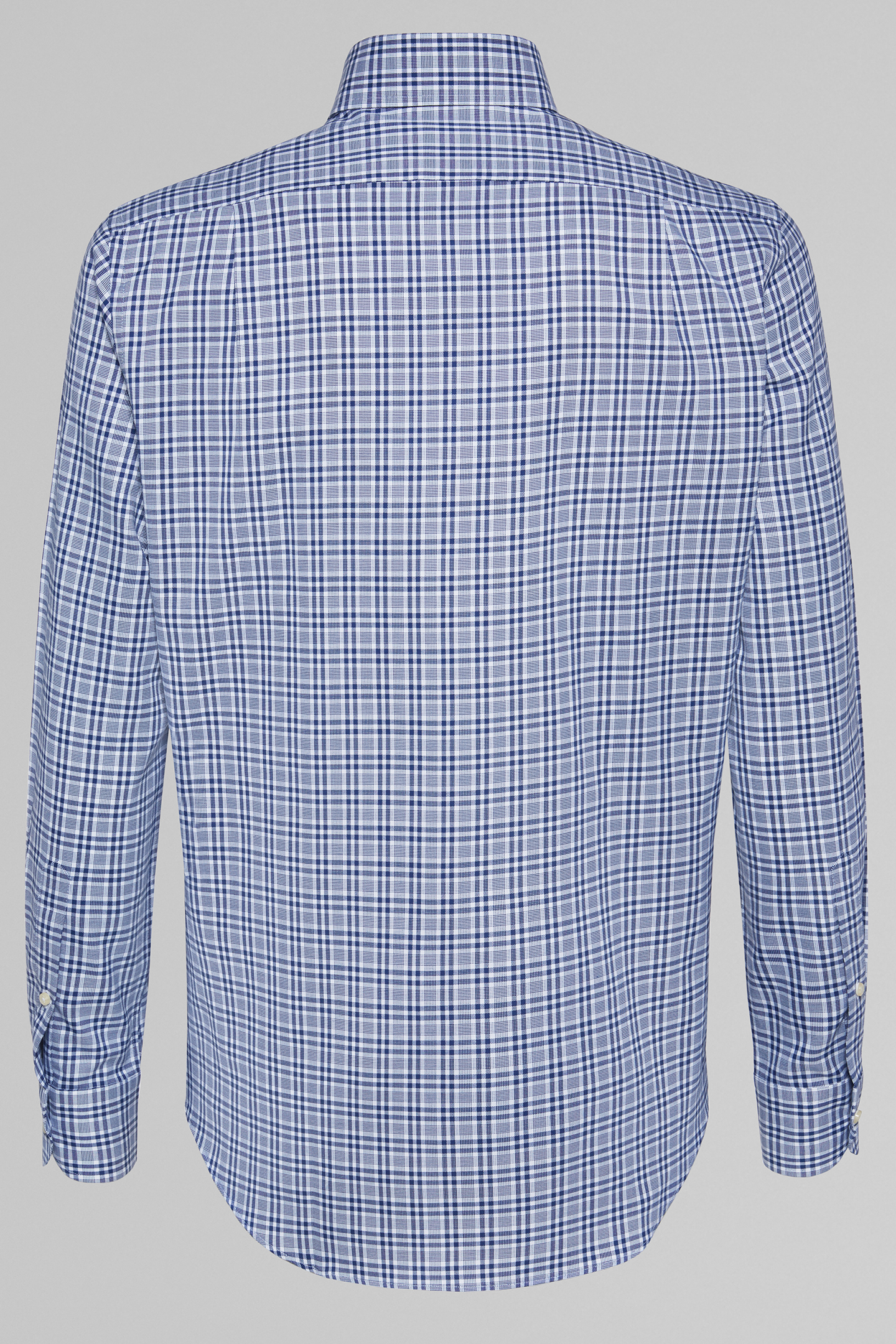 Camisa Regular Fit A Cuadros Azules Con Cuello Capri