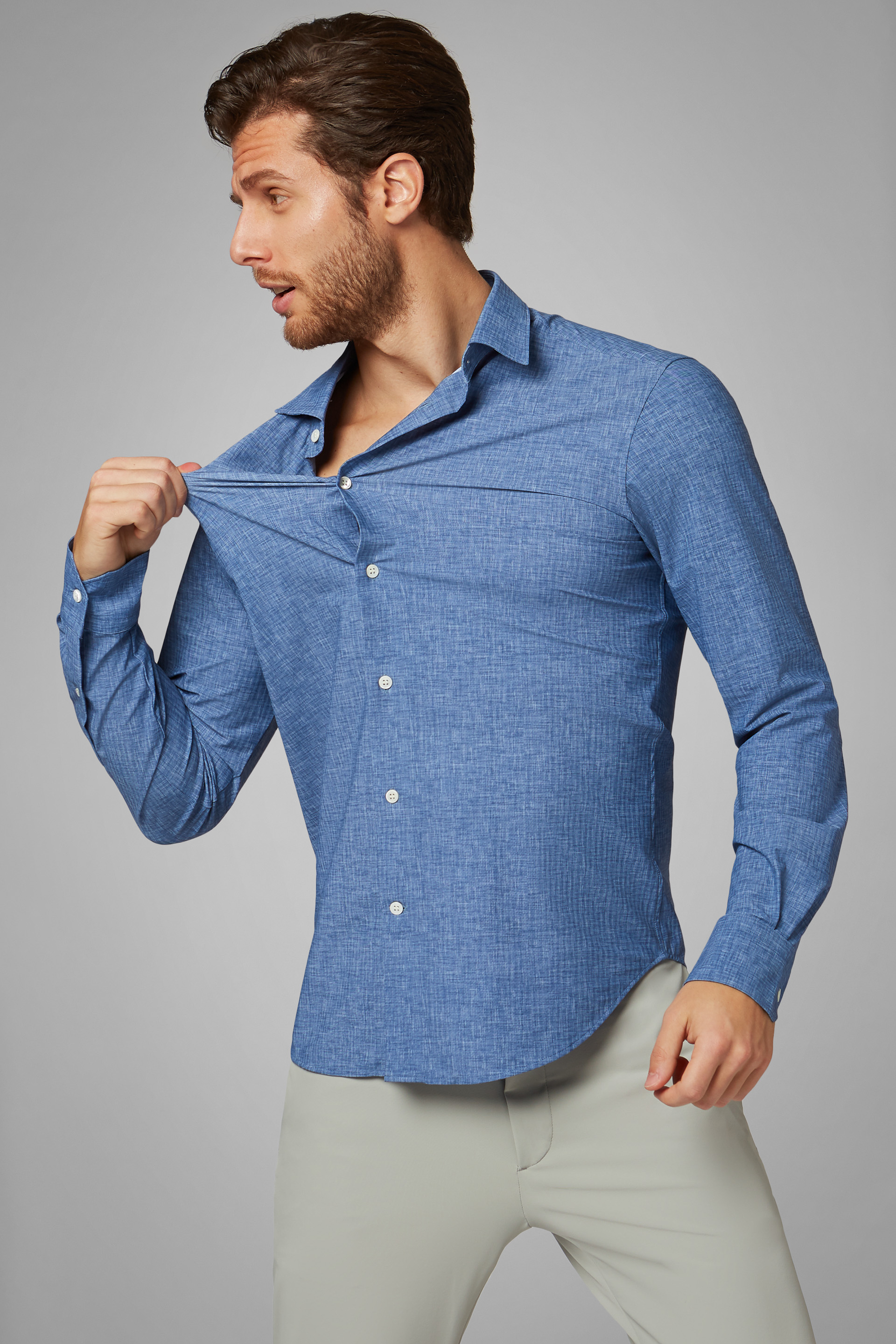 Camisa Slim Fit Azul Con Estampado