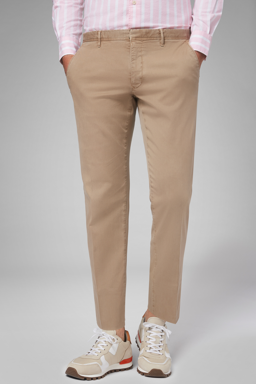 Pantalón Boggi Regular Fit De Gabardina De Algodón Y Tencel