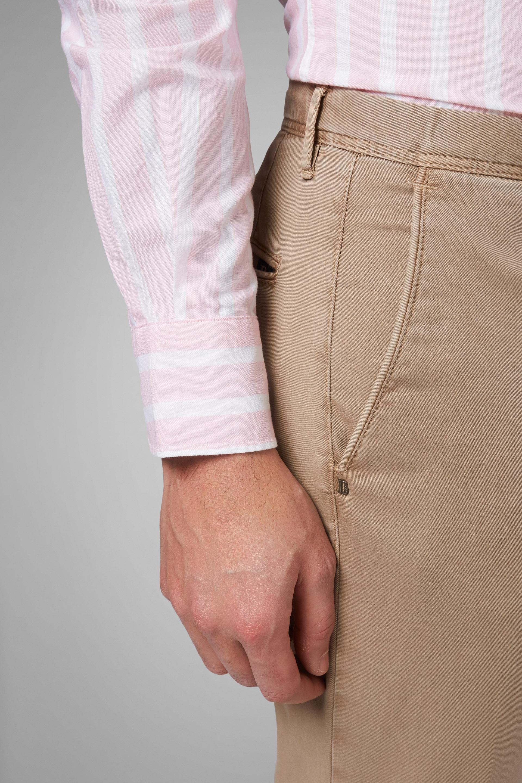 Pantalón Regular Fit De Gabardina De Algodón Y Tencel