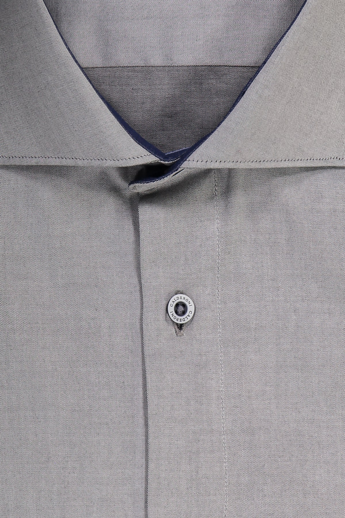 Camisa Sport CALDERONI Gris Claro 100% algodón corte Slim.