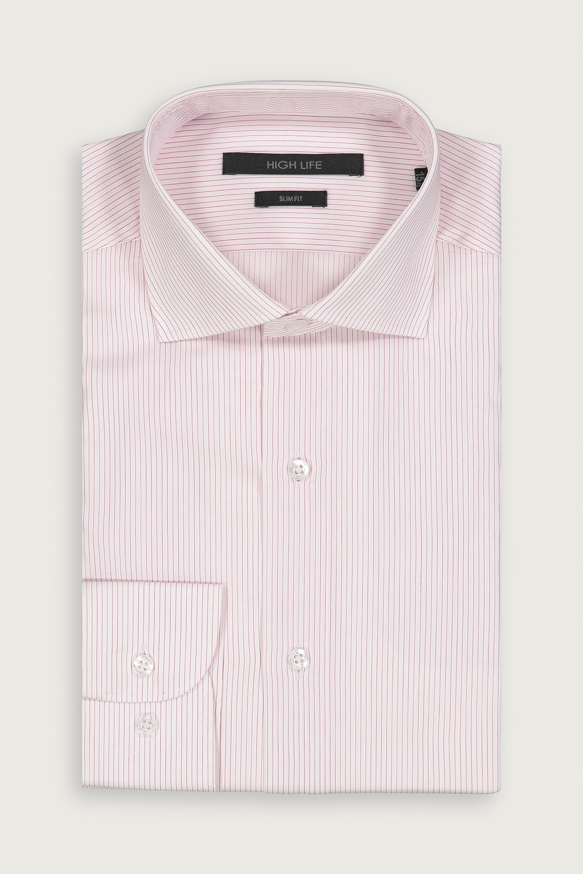 Camisa de Vestir HIGH LIFE corte Slim tejido rosa claro a rayas