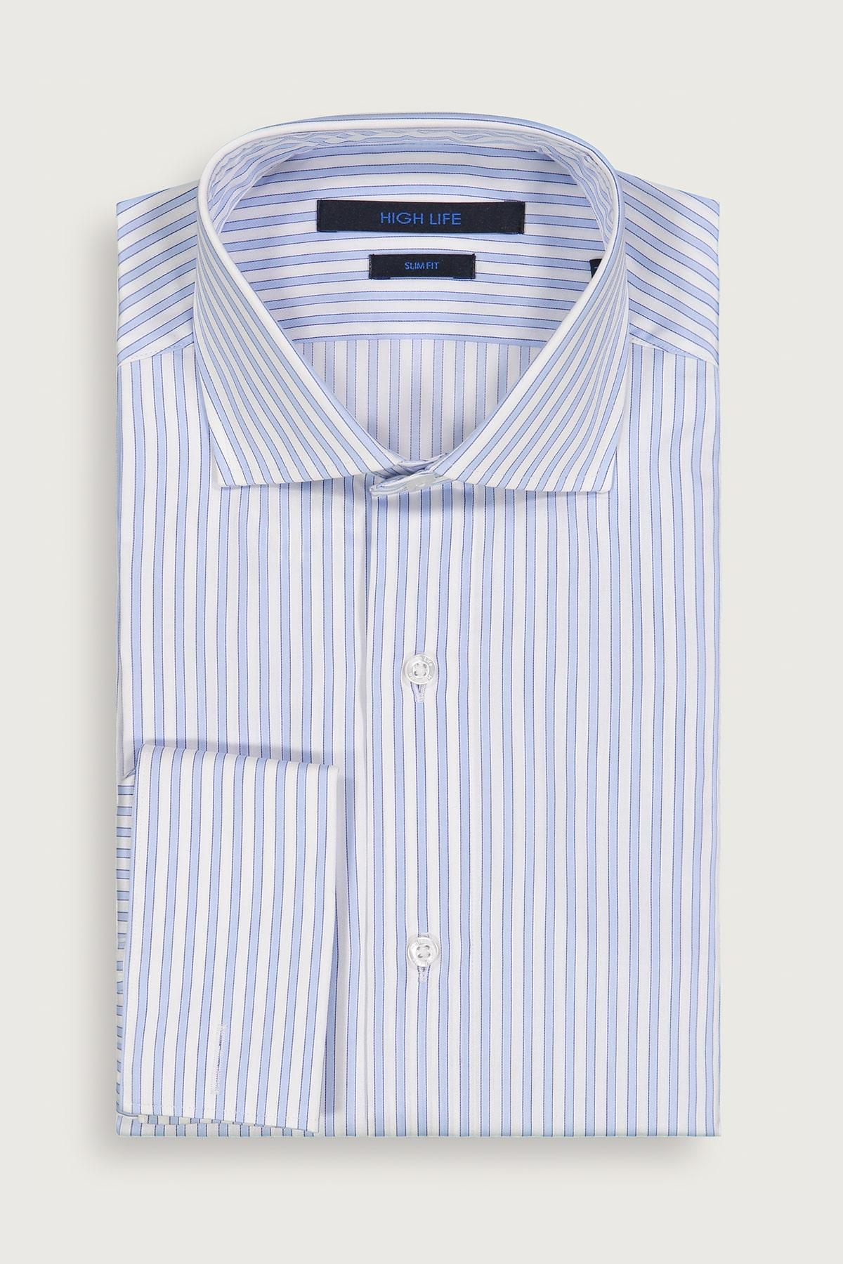 Camisa Vestir HIGH LIFE corte Slim, tejido azul con rayas a contraste tejido 100% algodón