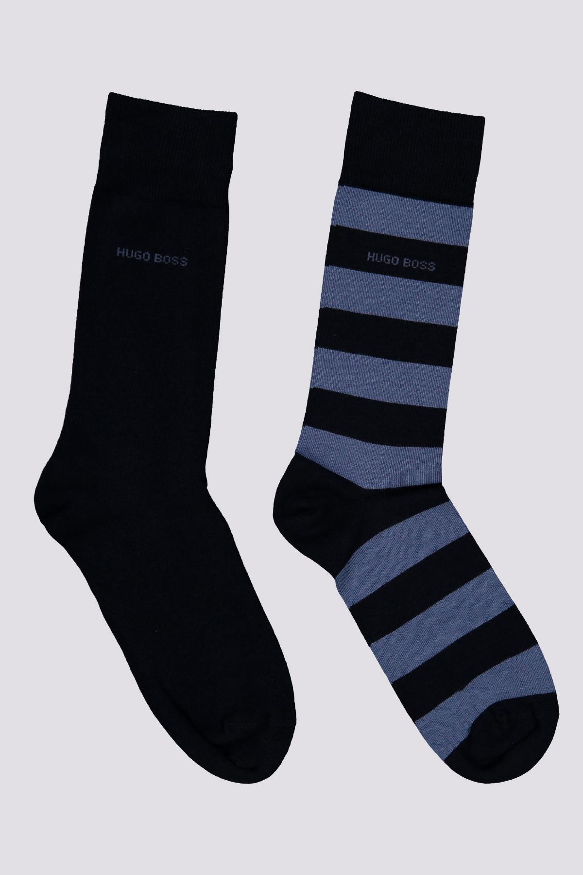 Paquete de dos pares de calcetines color azul de largo normal en mezcla de algodón peinado