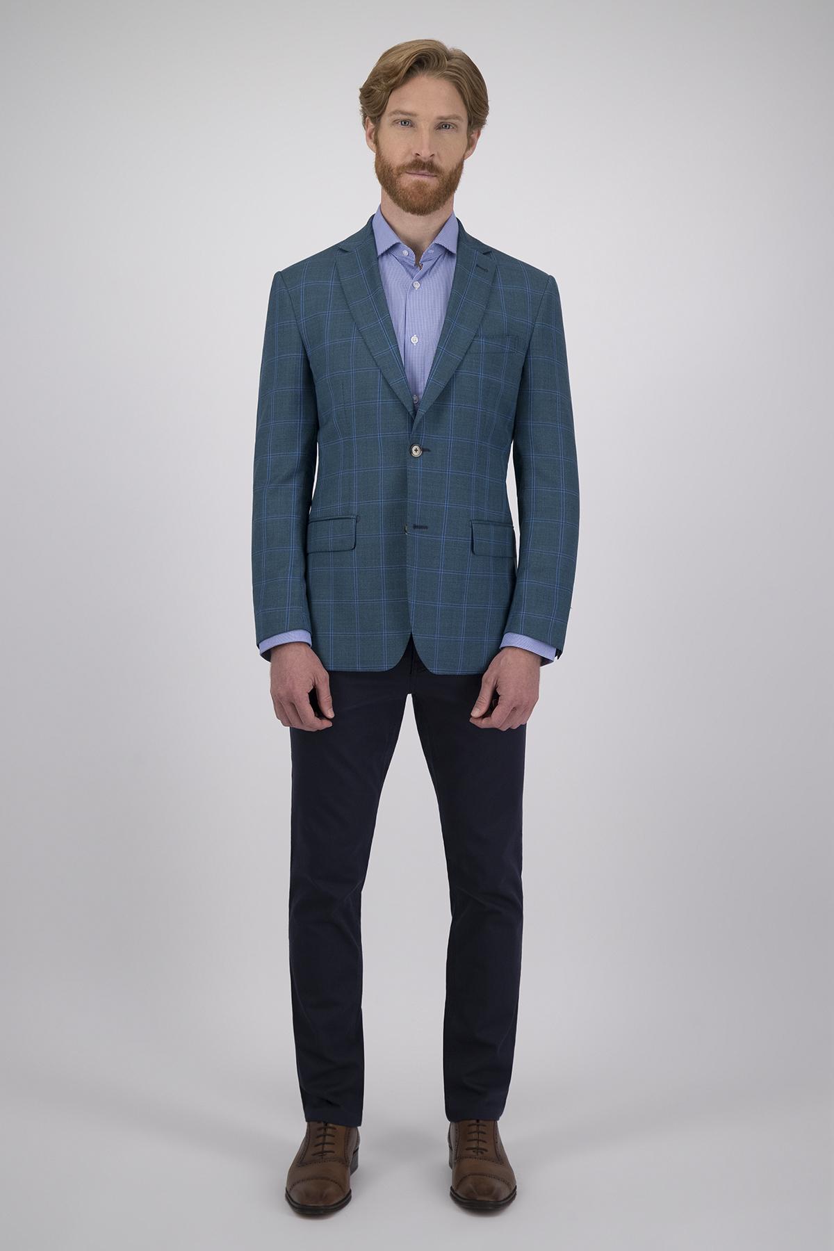 Saco Calderoni Couture Verde a Cuadros, Corte Regular, Tejido 100% Lana.