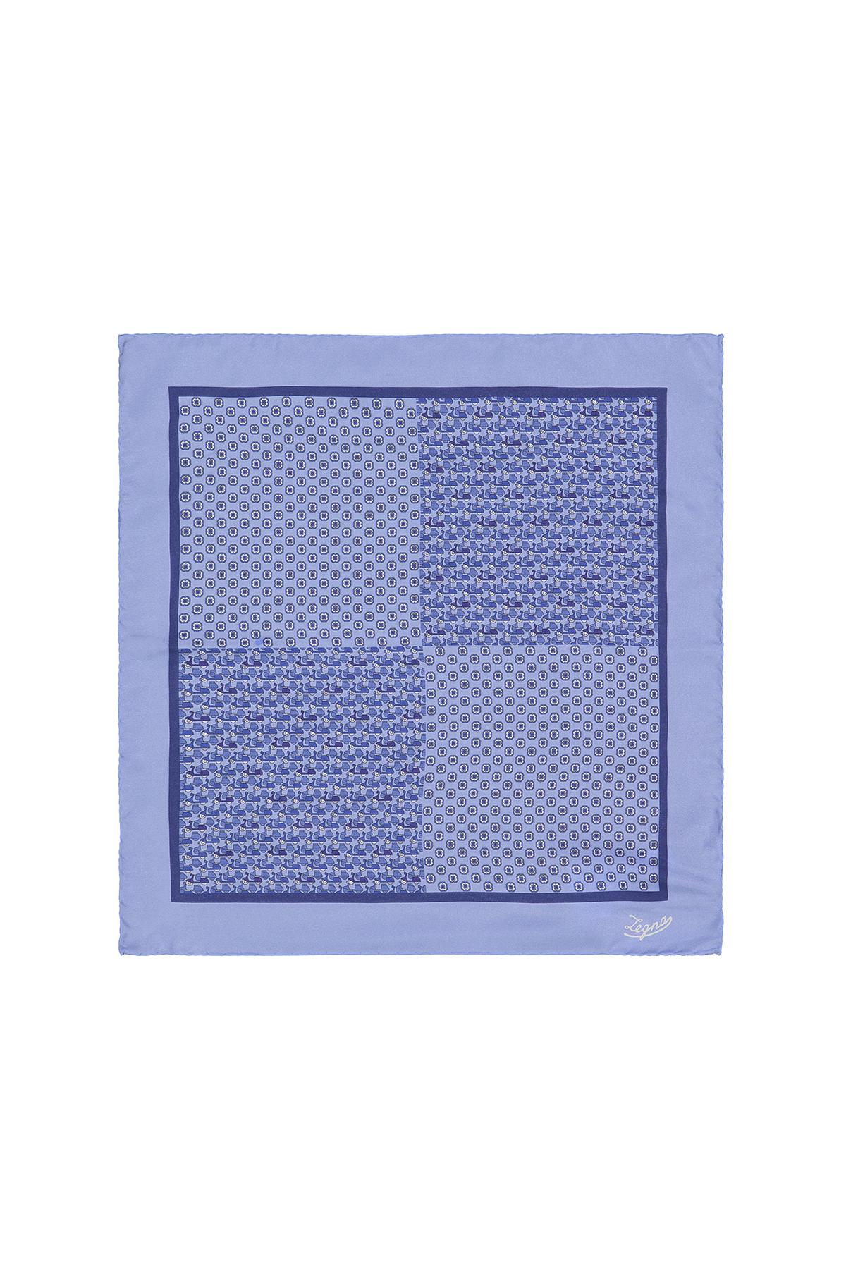 Pañuelo seda Marca Ermenegildo Zegna con dos bloques de diseño