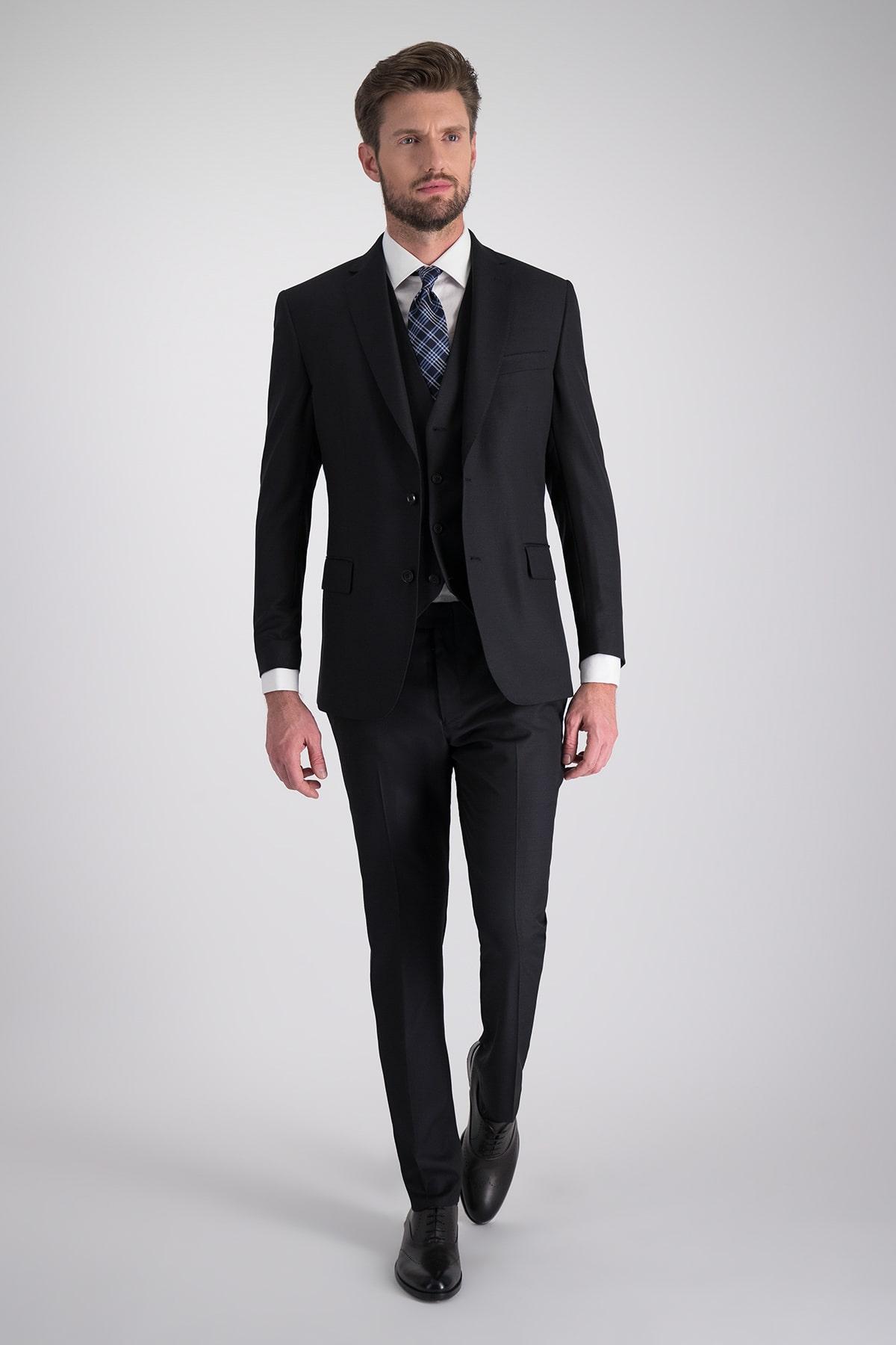 Traje 3 piezas marca Calderoni color negro con microdiseño