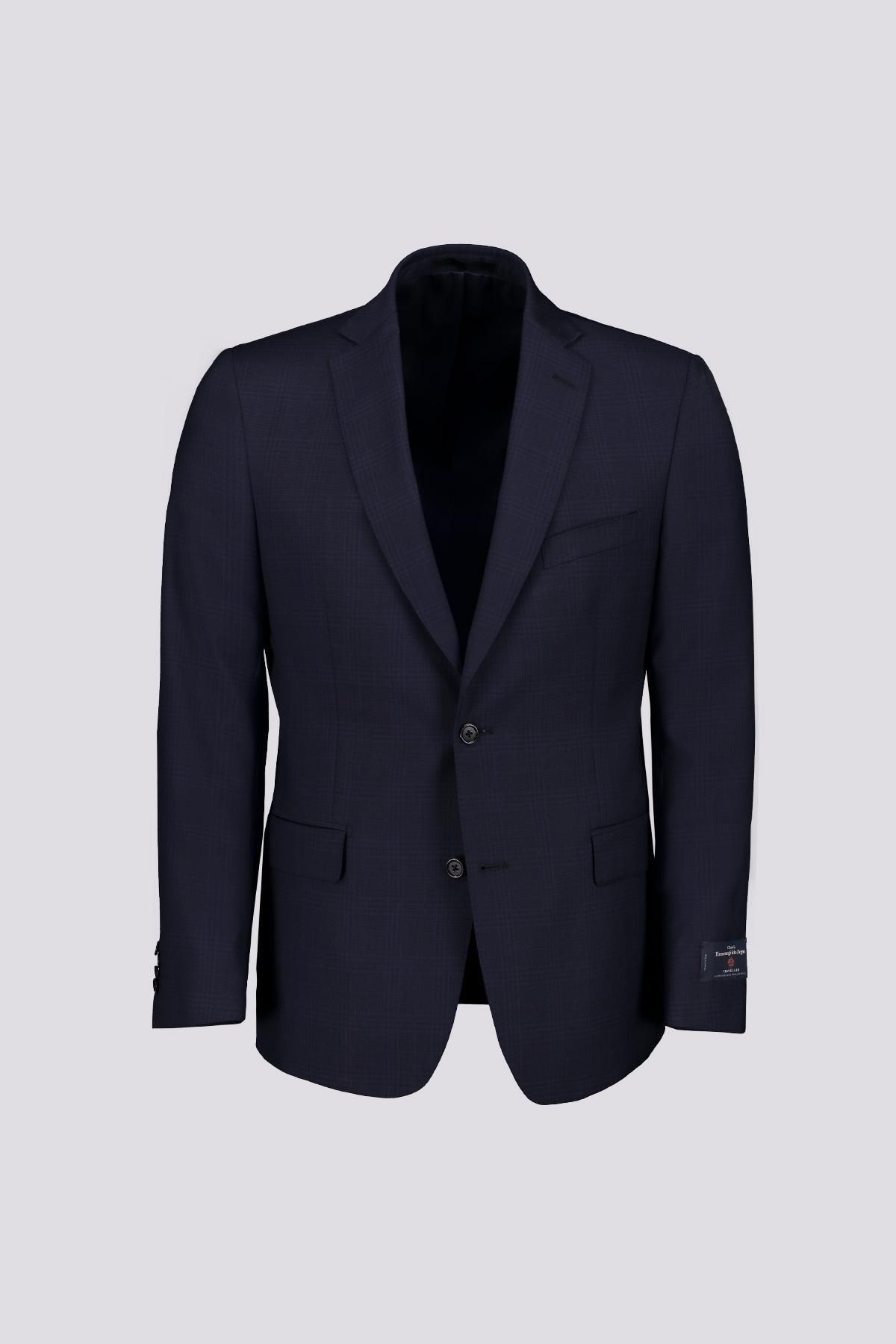 Traje Recto marca Cloth Ermenegildo Zegna azul con cuadro ventana