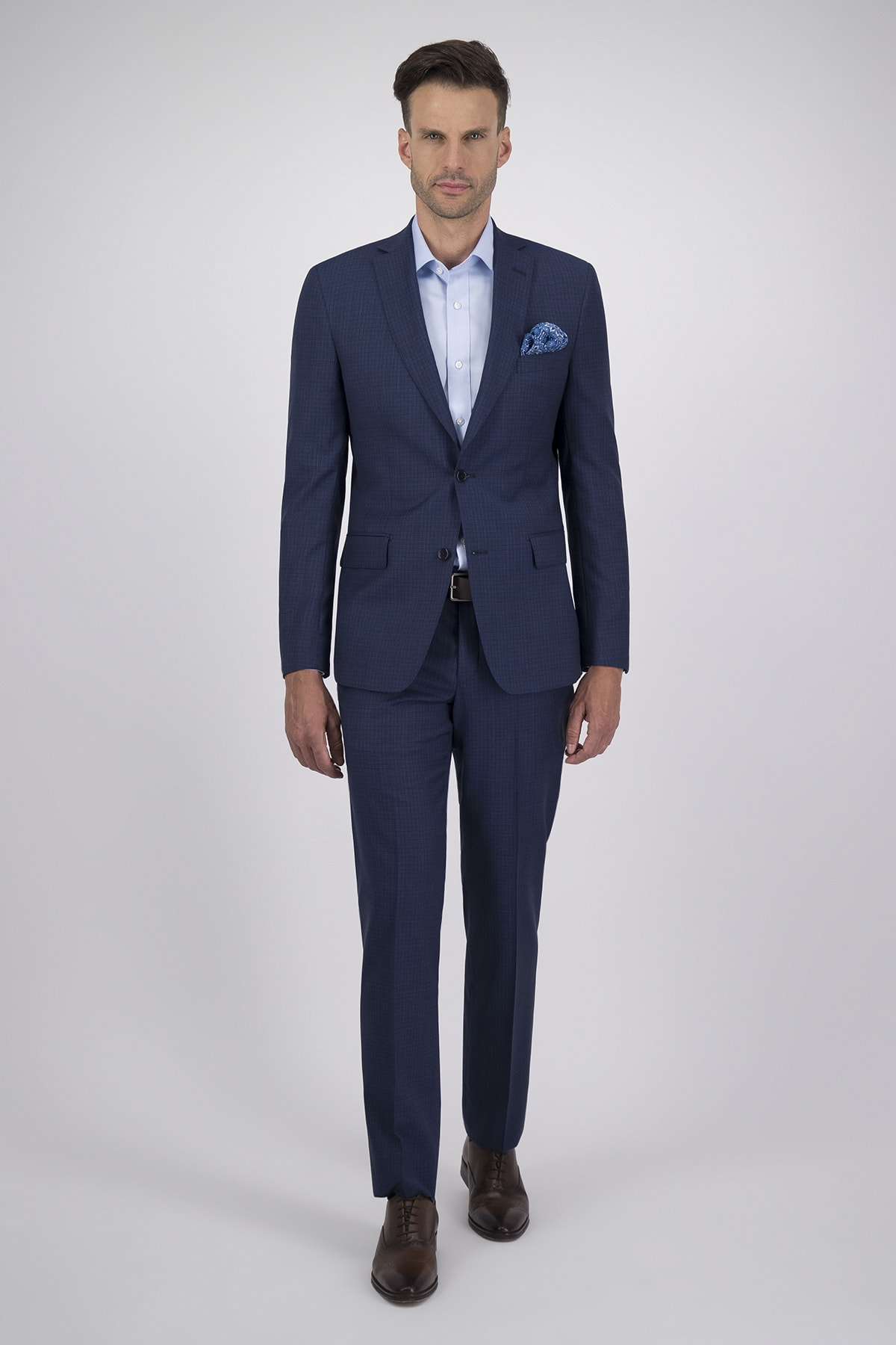 Traje corte Regular tejido Cloth Ermenegildo Zegna azul con cuadro diminuto