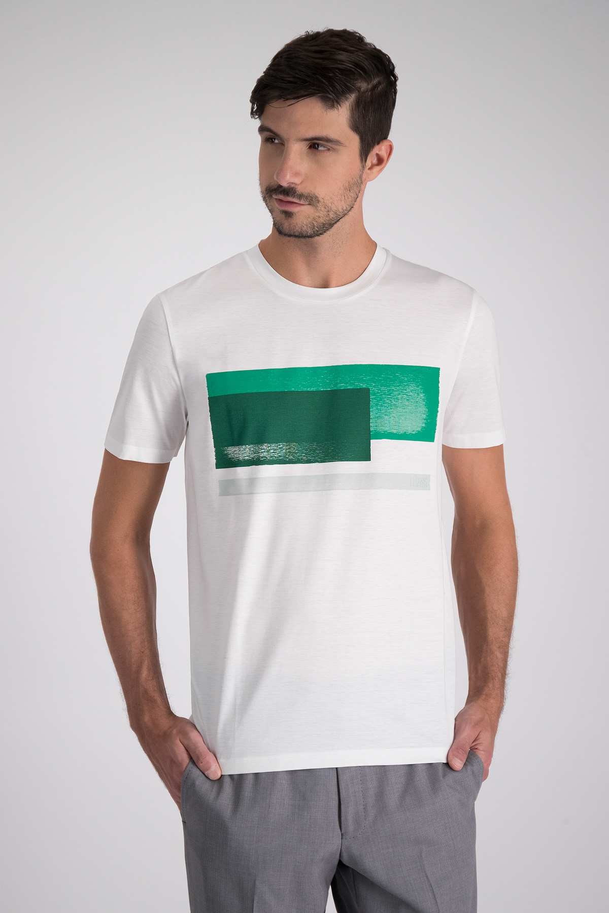 Playera BOSS con estampado frontal verde