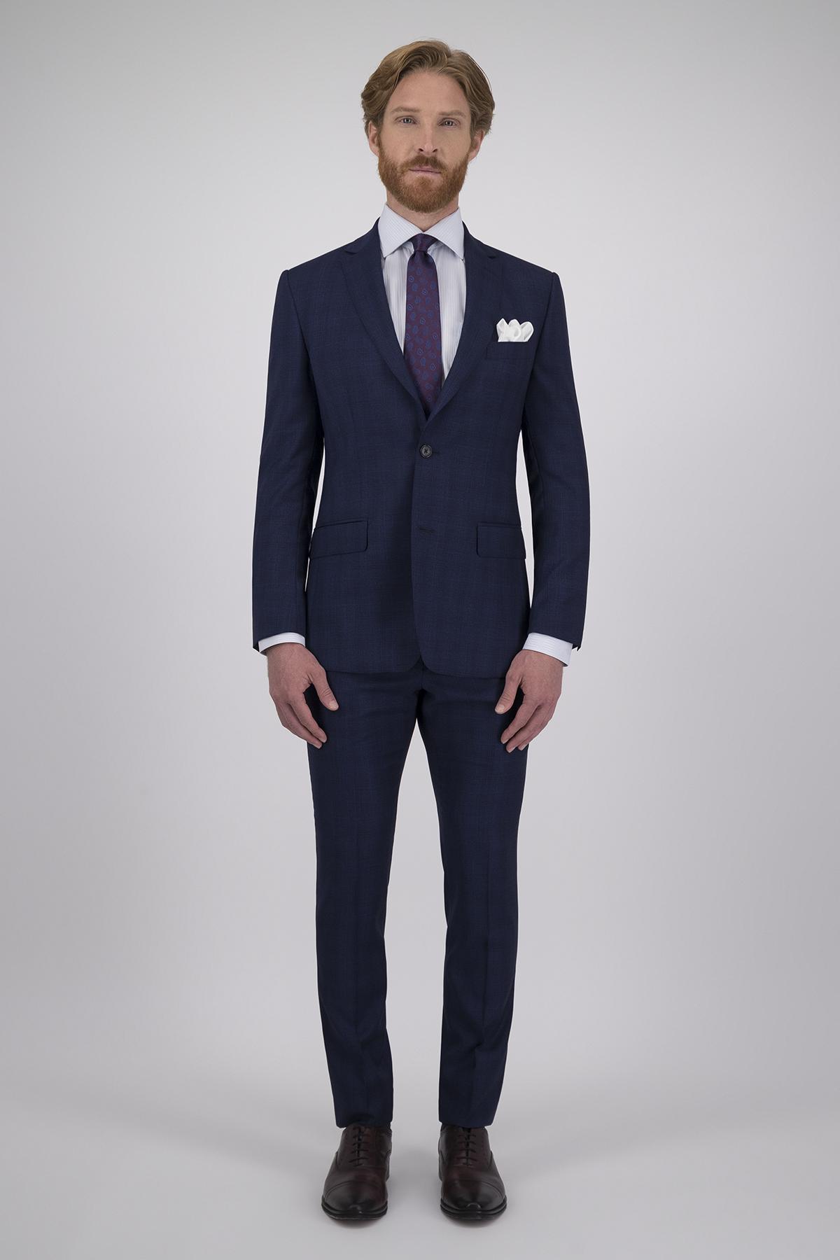 Traje Calderoni Couture Azul a Cuadros con Tejido super 150´s Lana 100% Corte Regular, 2 Piezas