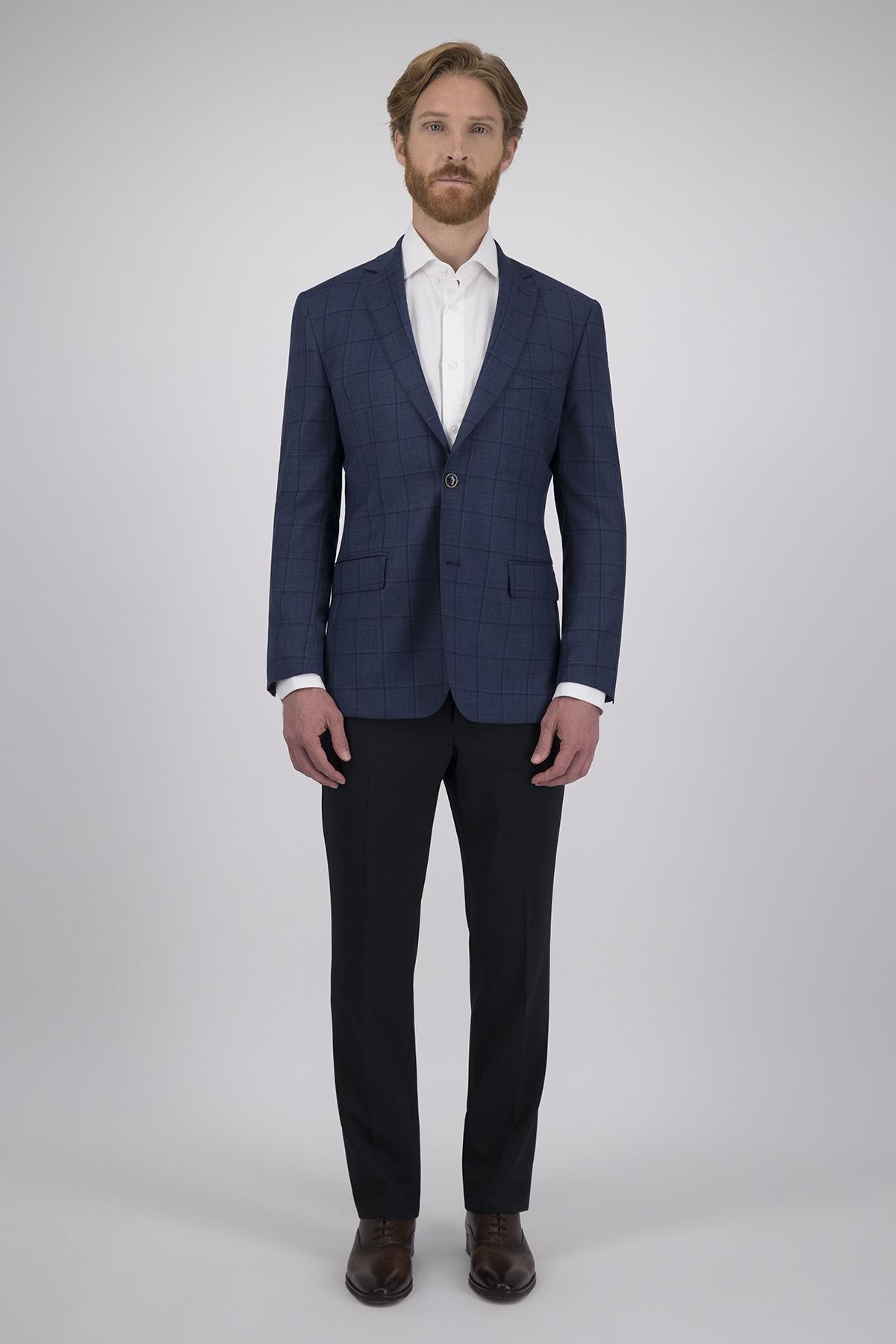 Saco Calderoni Couture Azul a Cuadros, Corte Slim, Tejido 100% Lana
