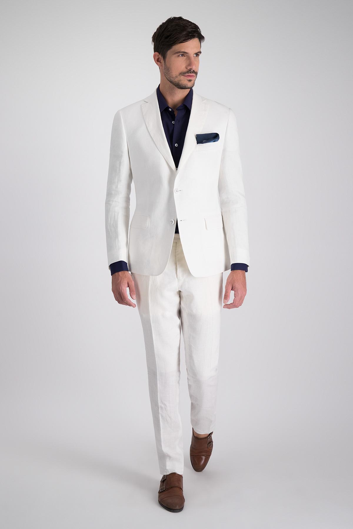 Traje marca HIGH LIFE tejido de lino blanco