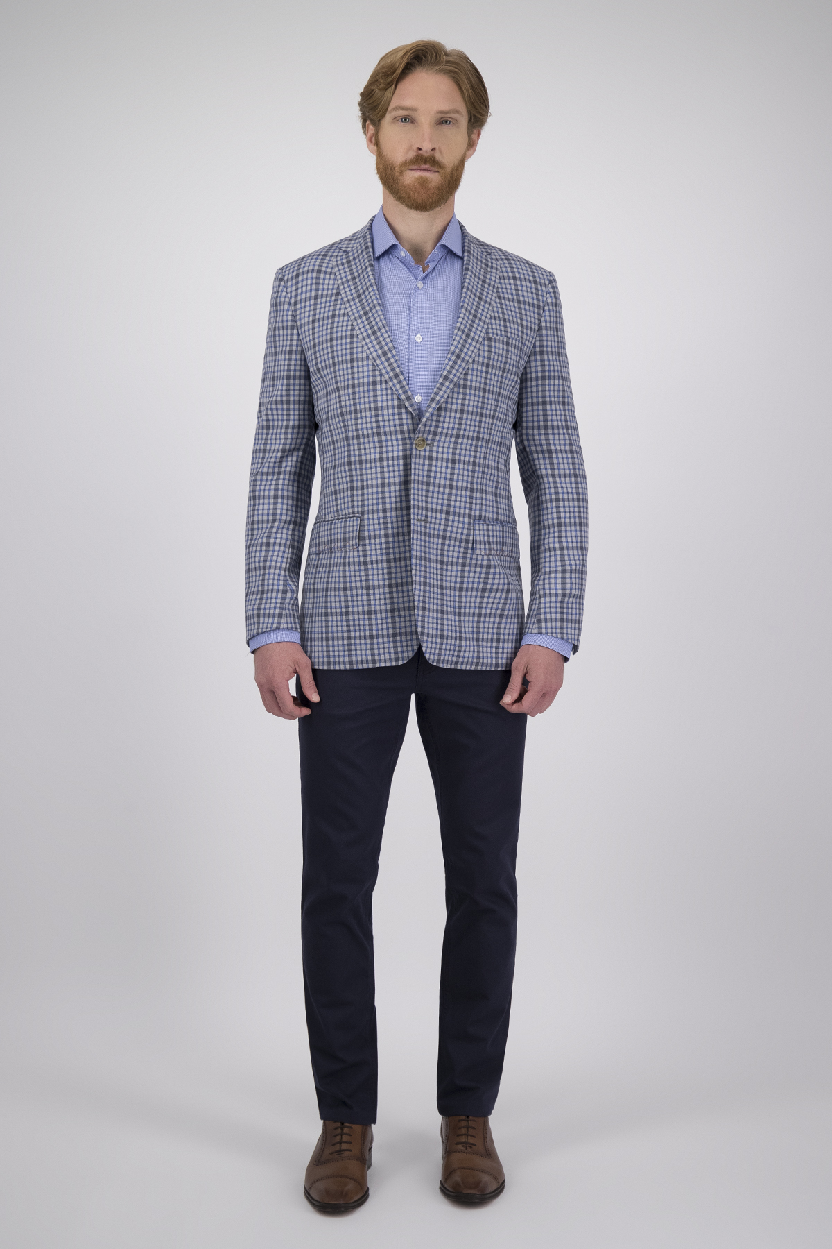 Saco Calderoni Couture Azul a Cuadros Corte Slim, Tejido 100% Lana