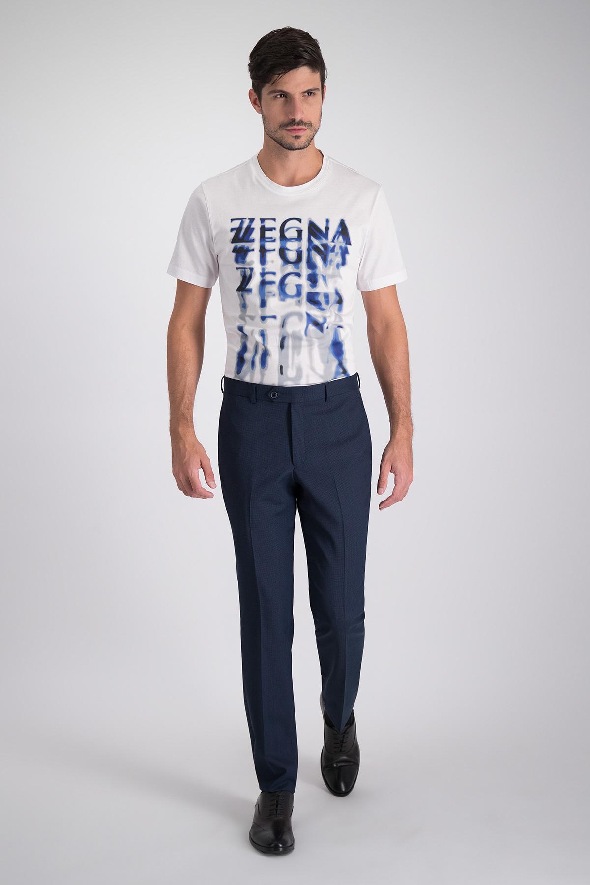 Pantalon vestir Calderoni en lana azul