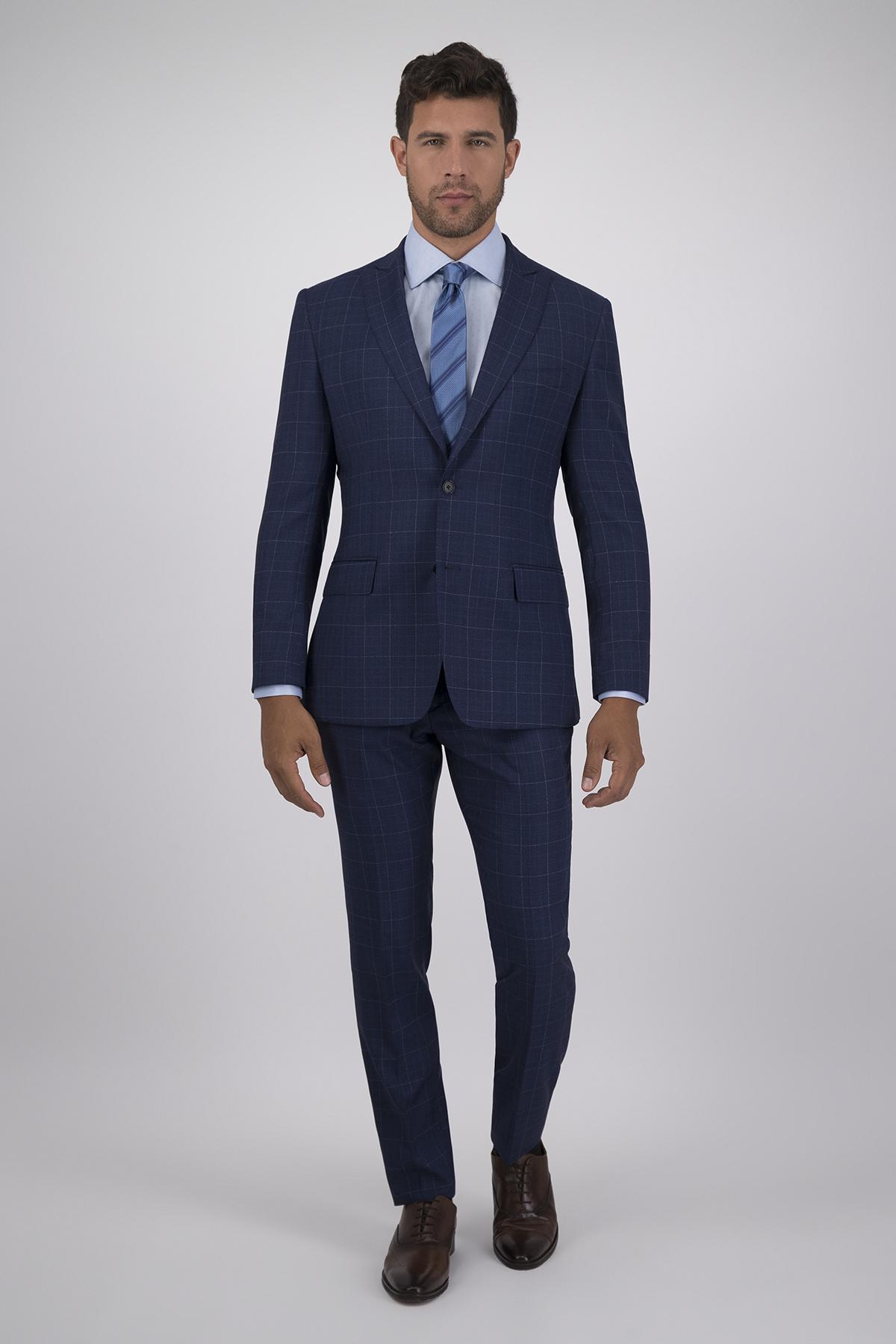 Traje Calderoni Couture Azul Principe Gales con Tejido super 150´s Lana 100% Corte Slim , 2 Piezas