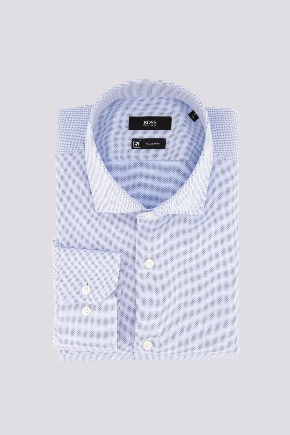 Camisa vestir marca BOSS con micro estructura azul claro