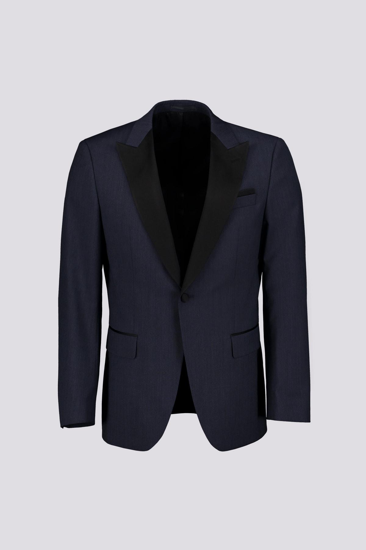 SMOKING  marca BOSS slim fit en lana virgen melange azul