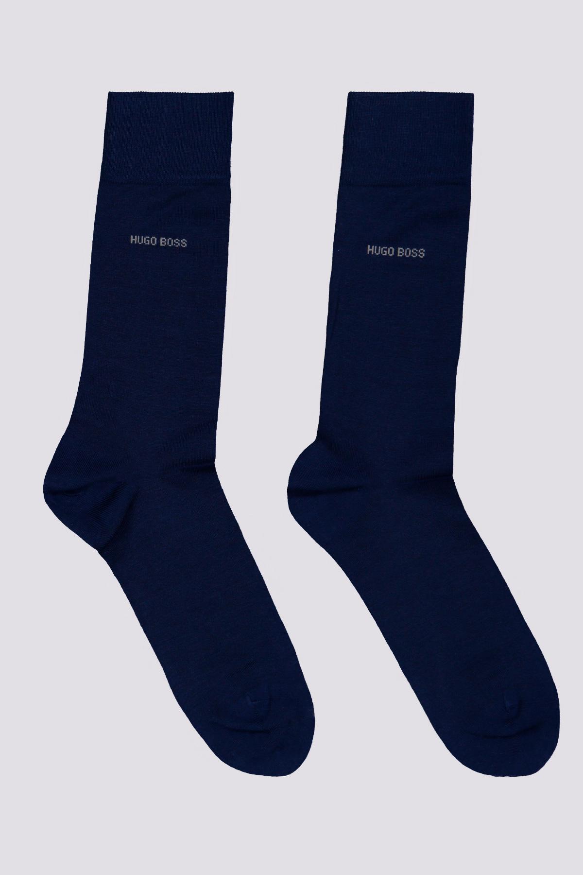 Paquete de dos calcetines largos marca BOSS de mezcla de algodón gris claro