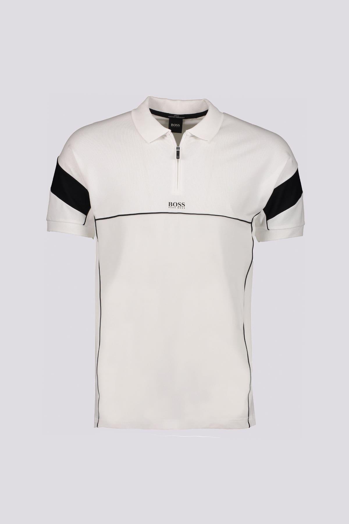 Polo slim fit marca BOSS color blanca con cuello con cremallera