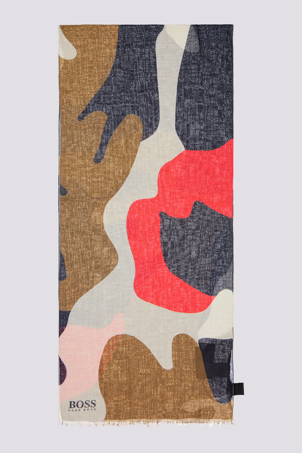 Bufanda de verano ligera marca BOSS  con estampado de camuflaje en algodón con lino