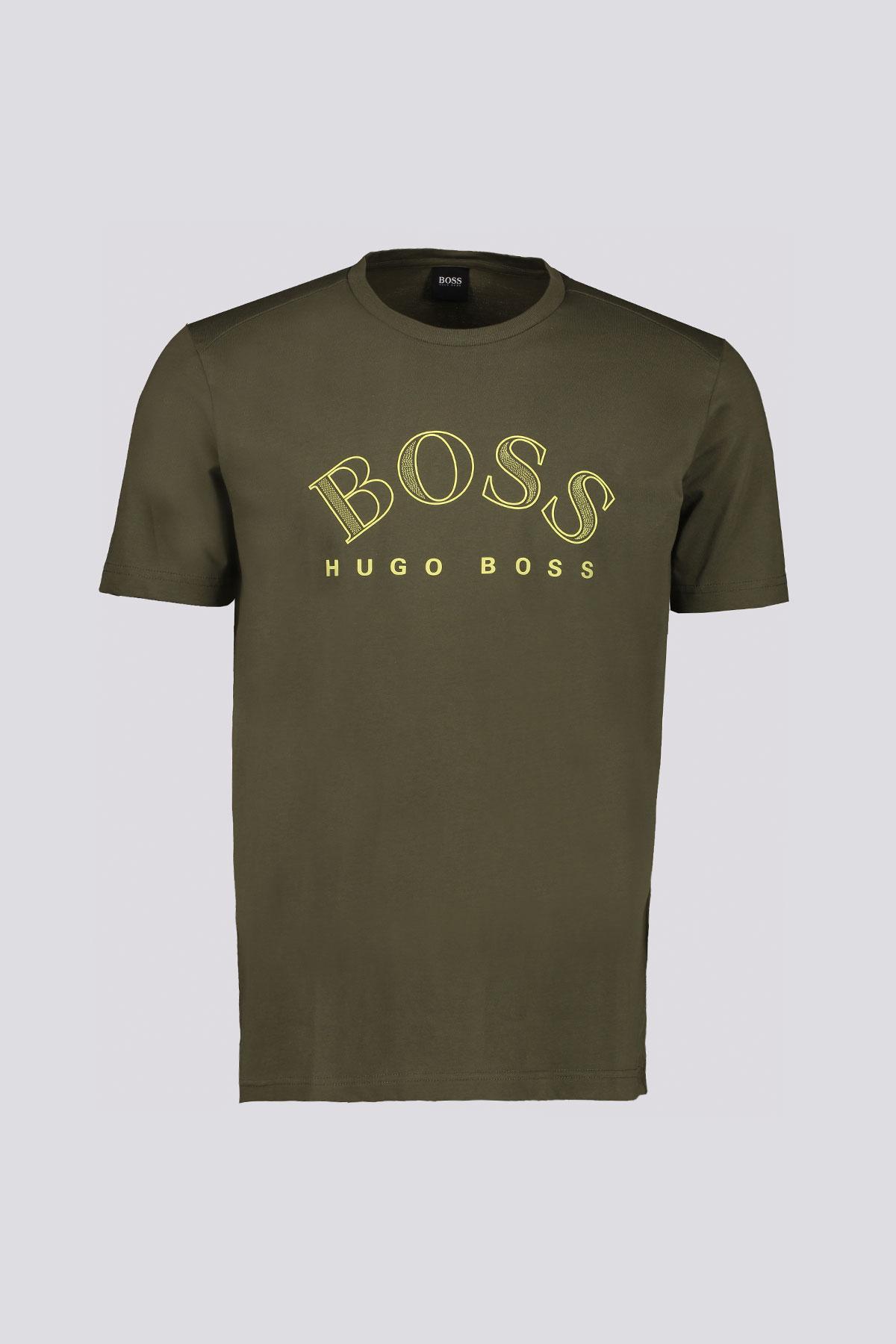 Playera marca BOSS de algodón con estampado de logo en pecho.
