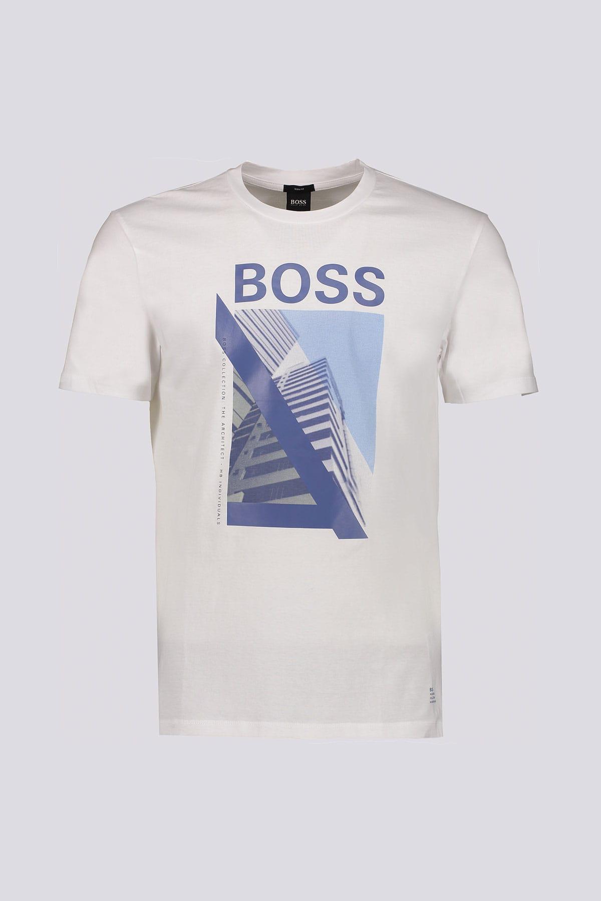 Playera marca BOSS  slim fit de algodón con ilustración de nueva temporada